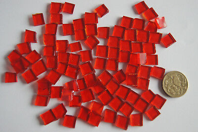 100 Stained Glass mosaic square tiles - 10x10mm - 1x1cm - Translucent RED - 75g