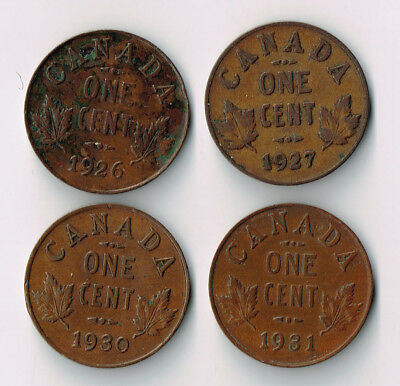 Lot Of Four 1926-31 Canada Semi Key One Cent Pennies