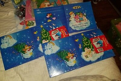 Vintage Care Bears Christmas Gift Box Sets Blue Square Lot of 5!