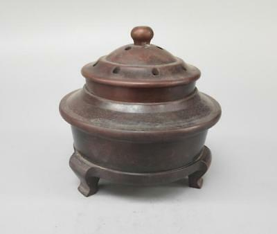 Chinese Ancient Pure brass tripodia crafts incense burner