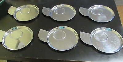 6 Art Deco Era Lurelle Guild CHASE Chrome NY Snack Canape TRAY Plate WING HANDLE