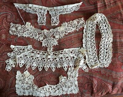 Antique Vintage Lace Collars And Appliques Lot Of 5