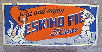 Eat ... ESKIMO PIE  5 Cents Advertising Sign ca. 1930 * 2 Eskimos Ice Cream RARE