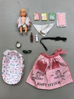 Vintage 60's Barbie Baby Sits Babysitter #953 Apron Bottle Bassinet