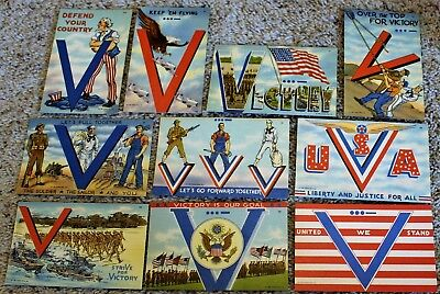 10 1941 Usa Wwii Postcards / V Is For Victory / World War 2 / Tichnor Bros