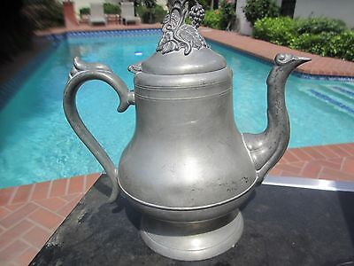 Antique American Pewter Teapot Marked Morey And Smith Warranted Boston