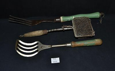 ThriftCHI ~ Primitive Kitchen Ware Lot #1 - Wire Basket, Straining Spoons