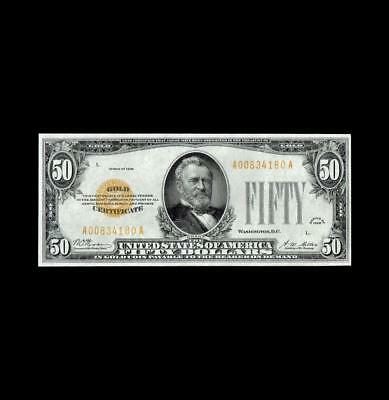 Scarce 1928 $50 Gold Certificate Strong Extra Fine+ Condition