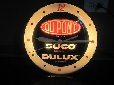 DUPONT DUCO DELUX Vintage Advertising Bubble Clock Fully Working Please Read