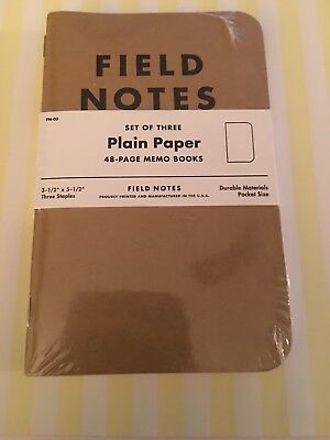 Field Notes KRAFT Plain Paper Sealed Pack of 3 memo books