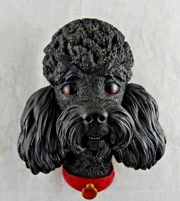 Vintage Chalk Ware Black Poodle Head Wall Hanging Decor 1968 England Bossons