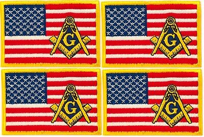 4 x MASONIC REGALIA US AMERICAN FLAG EMBROIDERED PATCH SQUARE & COMPASS