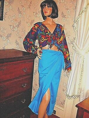 2pc BLUE MAXI WRAP SKIRT & FASHION PASSPORT PSYCHEDELIC LACED CROP TOP - M