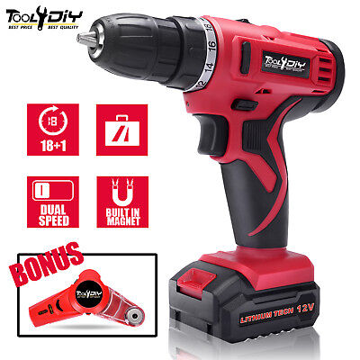 12V Lithium Compact Dual Speed Cordless Drill Rechargeable Electric Screwdriver