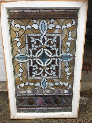 Antique Vintage Architectural Stained Glass Window Multi Colors Victorian Era