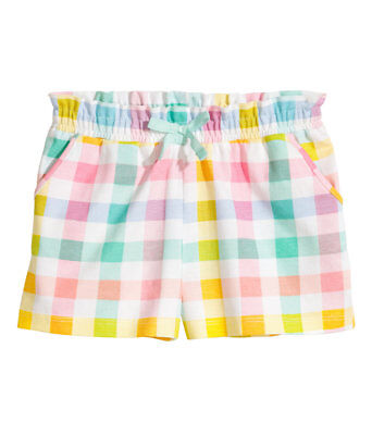 H M Girls Shorts w/ Multi-Colored Plaid and Checks w/ Front Pockets Size 4 5 6