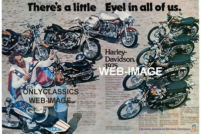 1975 HARLEY DAVIDSON XR-750 MOTORCYCLE LINEUP POSTER Evel Knievel DAREDEVIL MAN