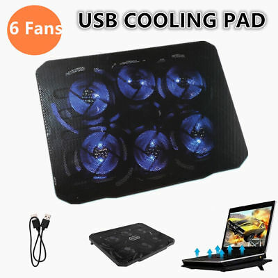 """7-17'' 6 Fans Universal Laptop Cooling Pad Cooler Fan Stand For 15.4"""" 15.6"""" 17"""""""