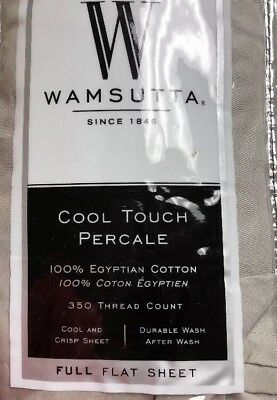 Wamsutta Cool Touch Percale 350 Thread Count Full Flat Sheet Light Grey