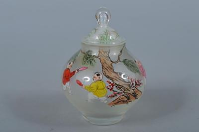 M595: Chinese Glass Colored porcelain Person pattern POT vase Tea Ceremony