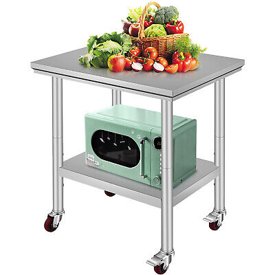 "Rolling Stainless Steel Top Kitchen Work Table Cart + Casters Shelving 30""x24"""
