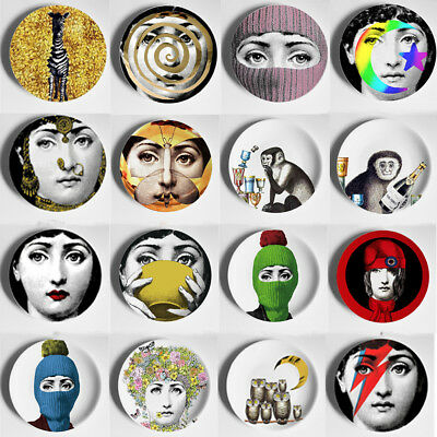 "Piero Fornasetti Plates Colorful Illustration Wall Hanging 6"" 8"" Dishes Home Dec"