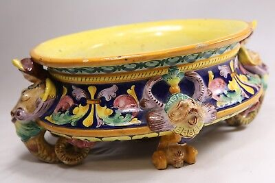 Majolica Planter Winged Mermaids Serpents Lions Yellow/Blue/Green Italy