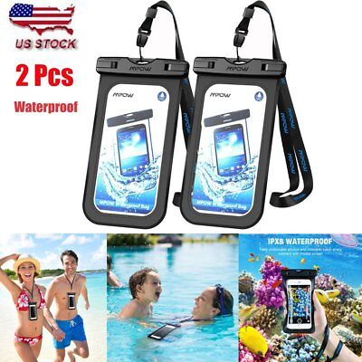 1 Pair Mpow Waterproof Underwater Phone Case Cover Dry Bag Pouch Touchscreen US