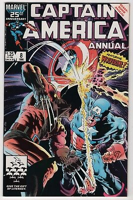 Captain America Annual #8 NM- 9.2 high grade Wolverine 1986 Mike Zeck cover art