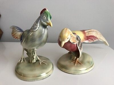 Antique Rare Early Will - George Pair Of Tanager Pheasants - Excellent Condition