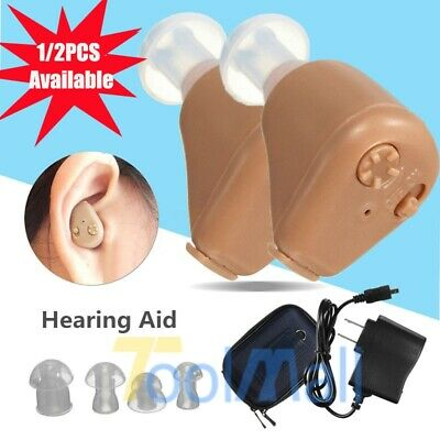 A Pair Rechargeable Digital Mini In Ear Hearing Aid Adjustable Tone Amplifier US