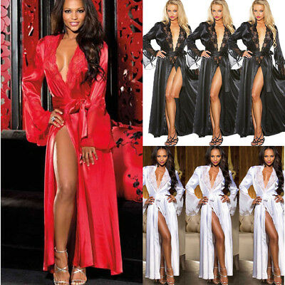 UK Sexy Bride Long Women Lace Floral Kimono Robe Satin Silk Night Dressing Gown