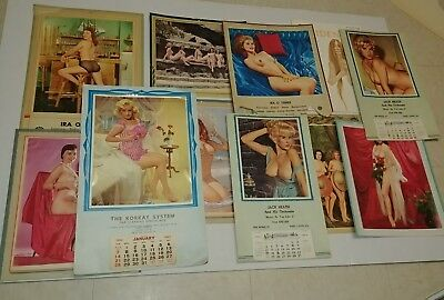 Vintage pinup Calendar lot nude maidens some cut AS IS 1960s