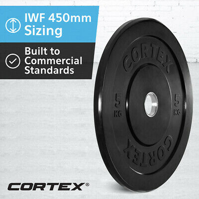CORTEX Olympic Rubber Bumper Plates 5kg IWF 450mm Diameter for 50mm Sleeve