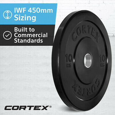 CORTEX Olympic Rubber Bumper Plates 10kg IWF 450mm Diameter for 50mm Sleeve