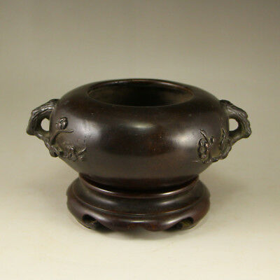 Vintage Chinese Bronze Double Ears Incense Burner