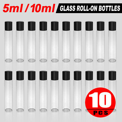 10 Clear 5/10 ml Glass Roll-on Bottles with Stainless Steel Roller Balls