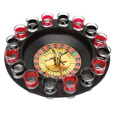 Roulette Spinning Drinking Game Shot Glass Poker Chips Deluxe Russian Set-HOT