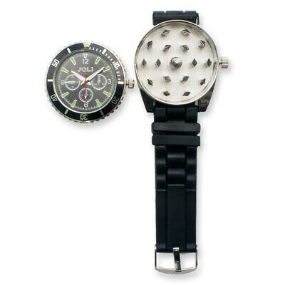 Black New Metal WristWatch Watch Herb Spice Tobacco Grinder Cigarette Crusher