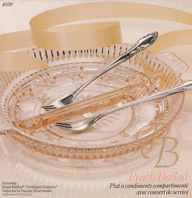Peach Ballad Divided Relish Plate with Servers