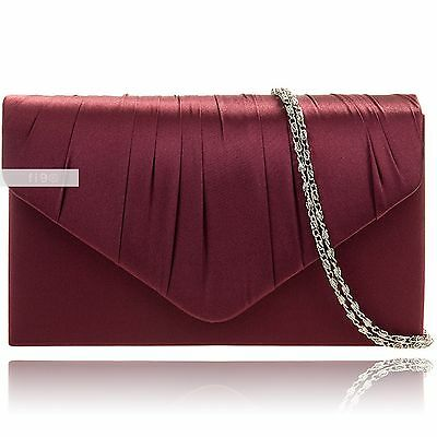 Maroon Satin Wedding Ladies Party Prom Evening Clutch Hand Bag Purse Handbag