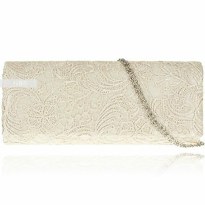 Stylish Ivory Lace Floral Wedding Ladies Party Prom Evening Clutch Hand Bag