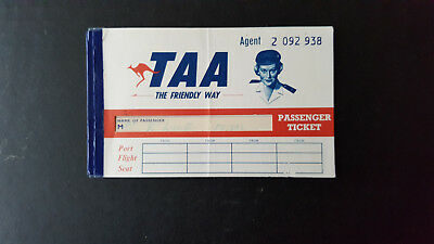 1960's Old Taa The Friendly Way Airline Ticket Cover