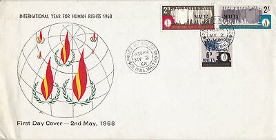 Malta 2 May 1968  International Year Of Human Rights First Day Cover Cds