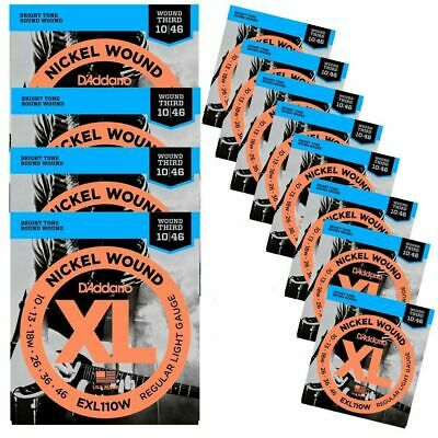 D'Addario Nickel Regular Light Wound 3rd Electric Guitar Strings 10 - 46 EXL110W