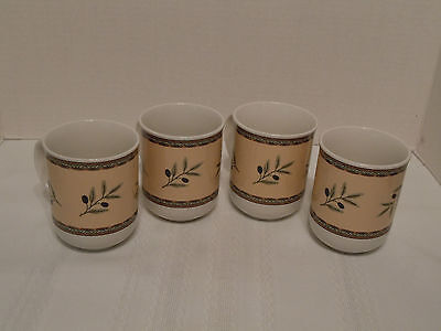 Set of 4 ONEIDA Tuscan Olives Cups/Mugs Mint Condition Don't Miss This L@@K!!