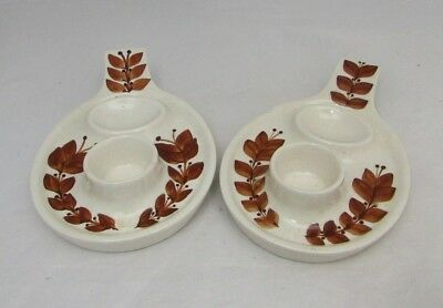 Vintage Jersey Pottery Pair Of Egg Cup Cups Plates Holders Cream Brown Leaves