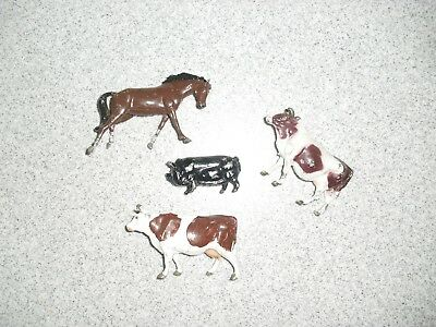 Set Of 4 Metal Farm Animals 2 Cows/1 Horse/1 Pig Made In England Cheriler Signed