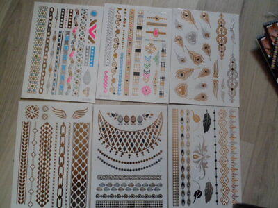 lot de 6 planches tatouages ephemeres metallic 15x20 cms