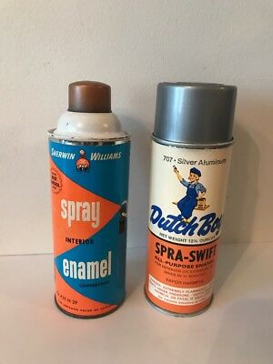 Vintage Sherwin Williams and Dutch Boy Spray Paint Cans W/paper Labels